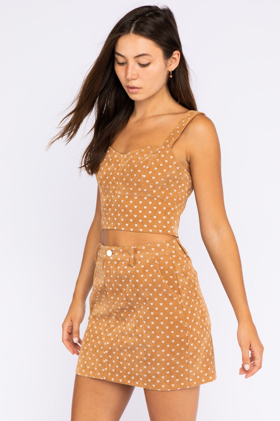 Polka Dot U Line Neck Top In Tan Siin Bees