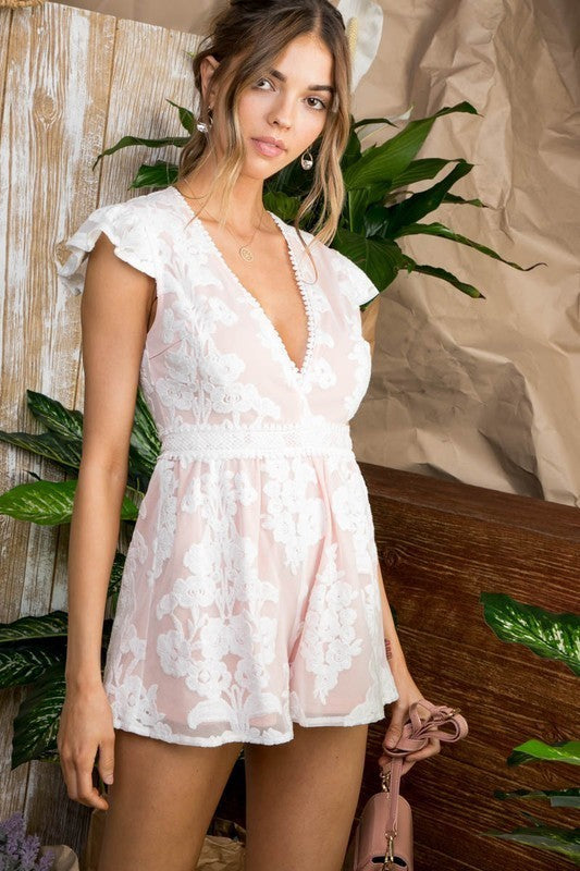 Aubrey V Neck Ruffle Sleeve Double Layer Floral Lace Flare Romper Siin Bees