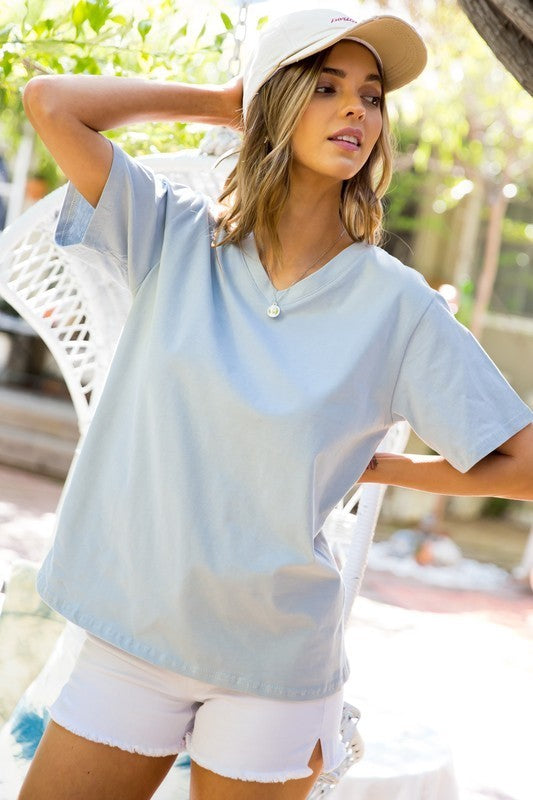 Opal Blue V Neck Short Sleeve Oversize Fit Solid Washed Knit Top Siin Bees