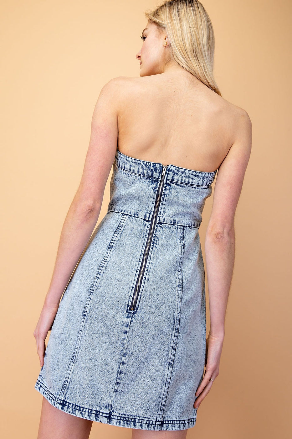 Strapless Sweetheart Denim Dress Siin Bees