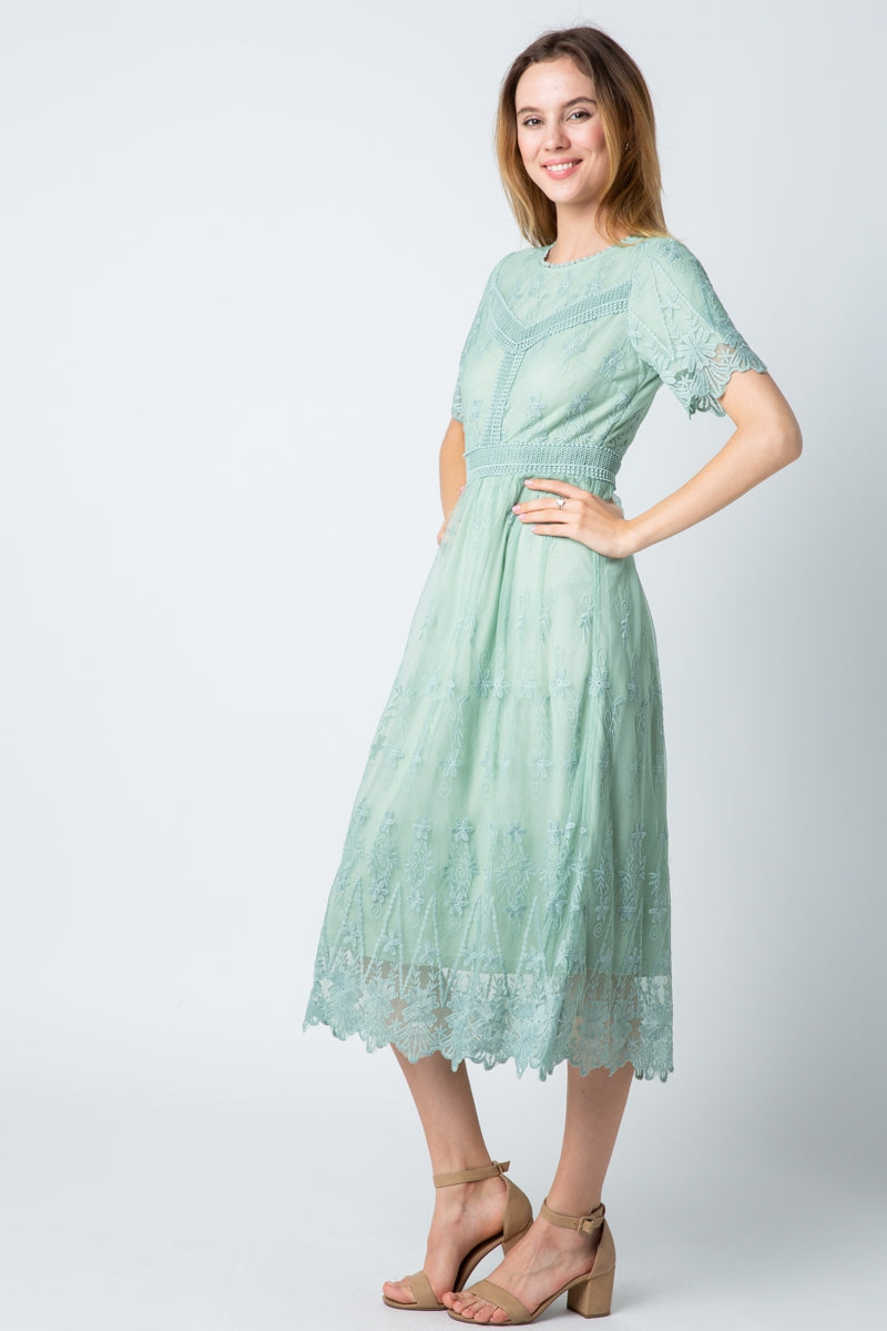 Jasmine Lace Midi Dress With Embroider Detail Siin Bees