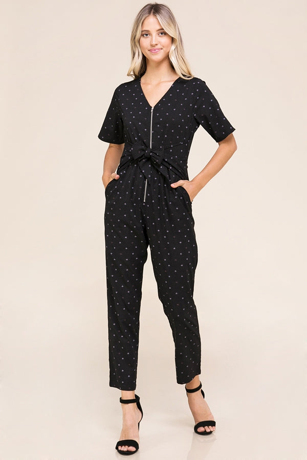 Monroe Black Jumpsuit Front Tie Detailed Siin Bees