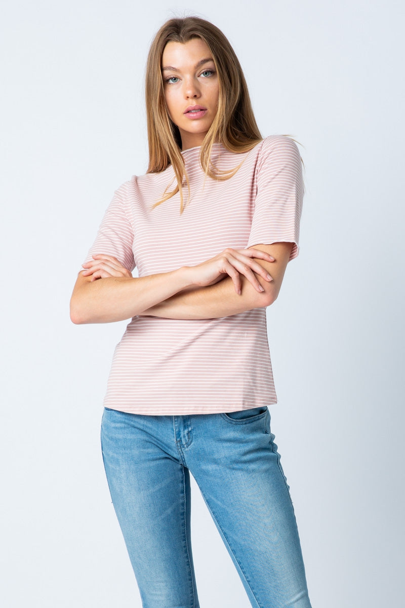 Mauve Short Sleeve Stripe Top Mock Neck Siin Bees