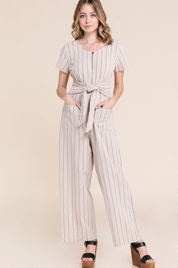 Charlie Jumpsuit With Belt And Zipper Front In Natural Siin Bees