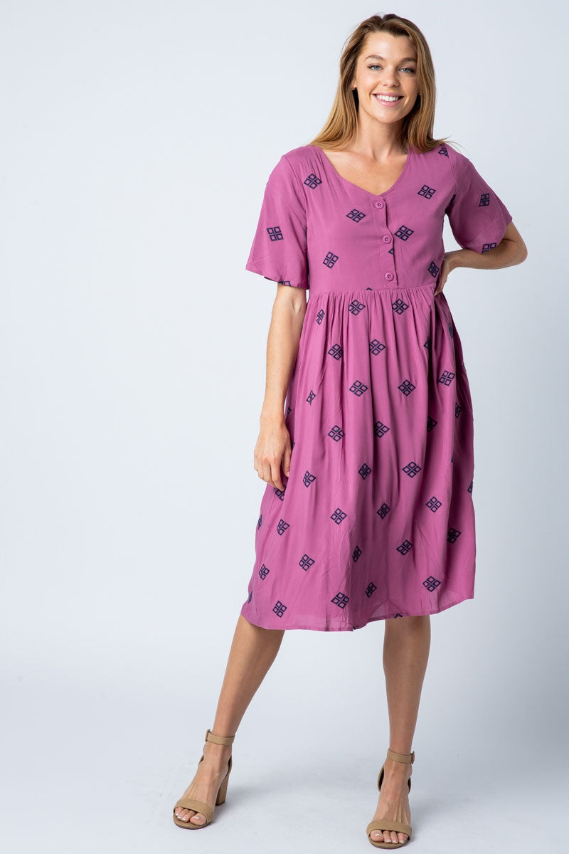 Elena Plum Midi Dress Diamond Embroidered With Front Button Closure Siin Bees