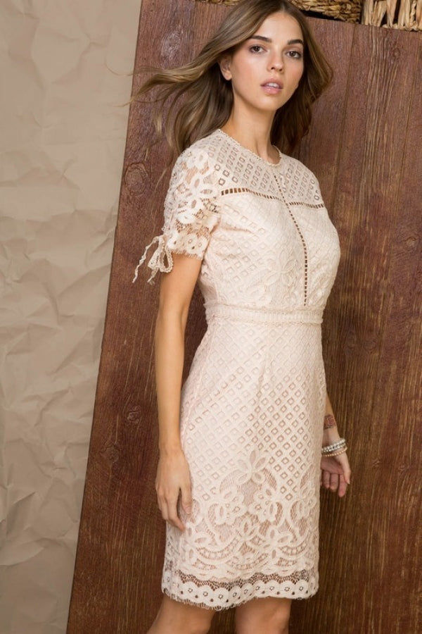 Zipper Back Crochet Lace Body Con Mini Dress With Sleeve Tie Accent Siin Bees