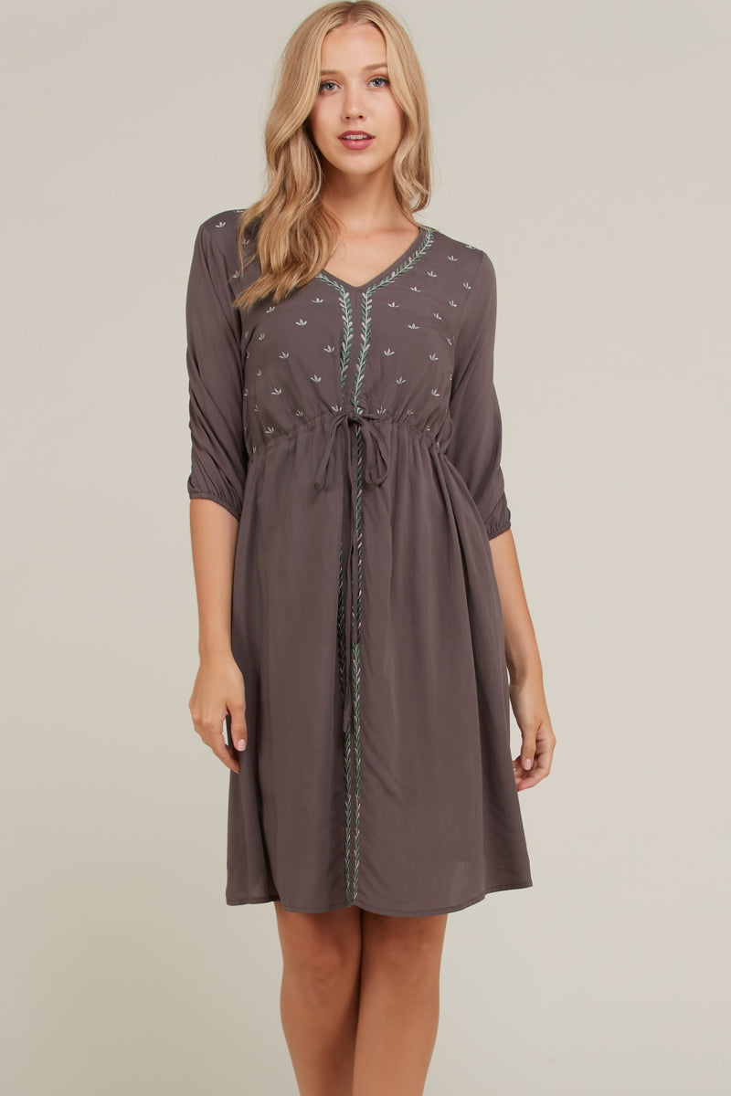 Zoe Midi Dress Embroidered With Waist String Siin Bees