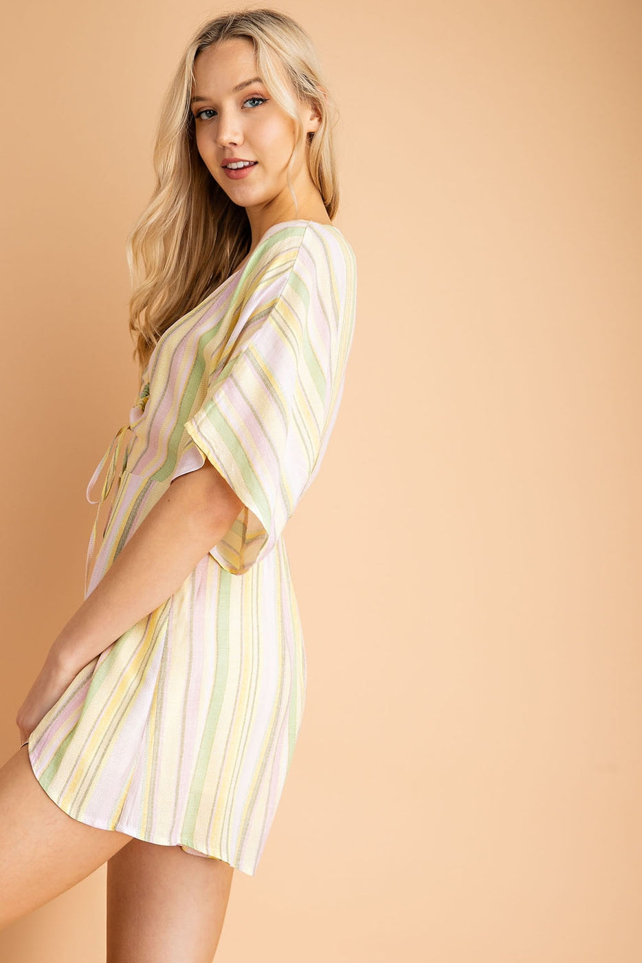 Valentina Romper With Stripe Print In Yellow-Multi Siin Bees