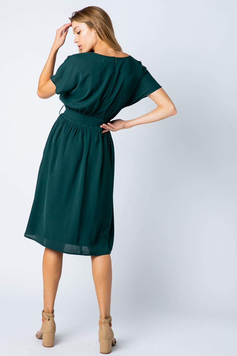 Veronica Midi Dress With Drop Shoulder Waist Siin Bees