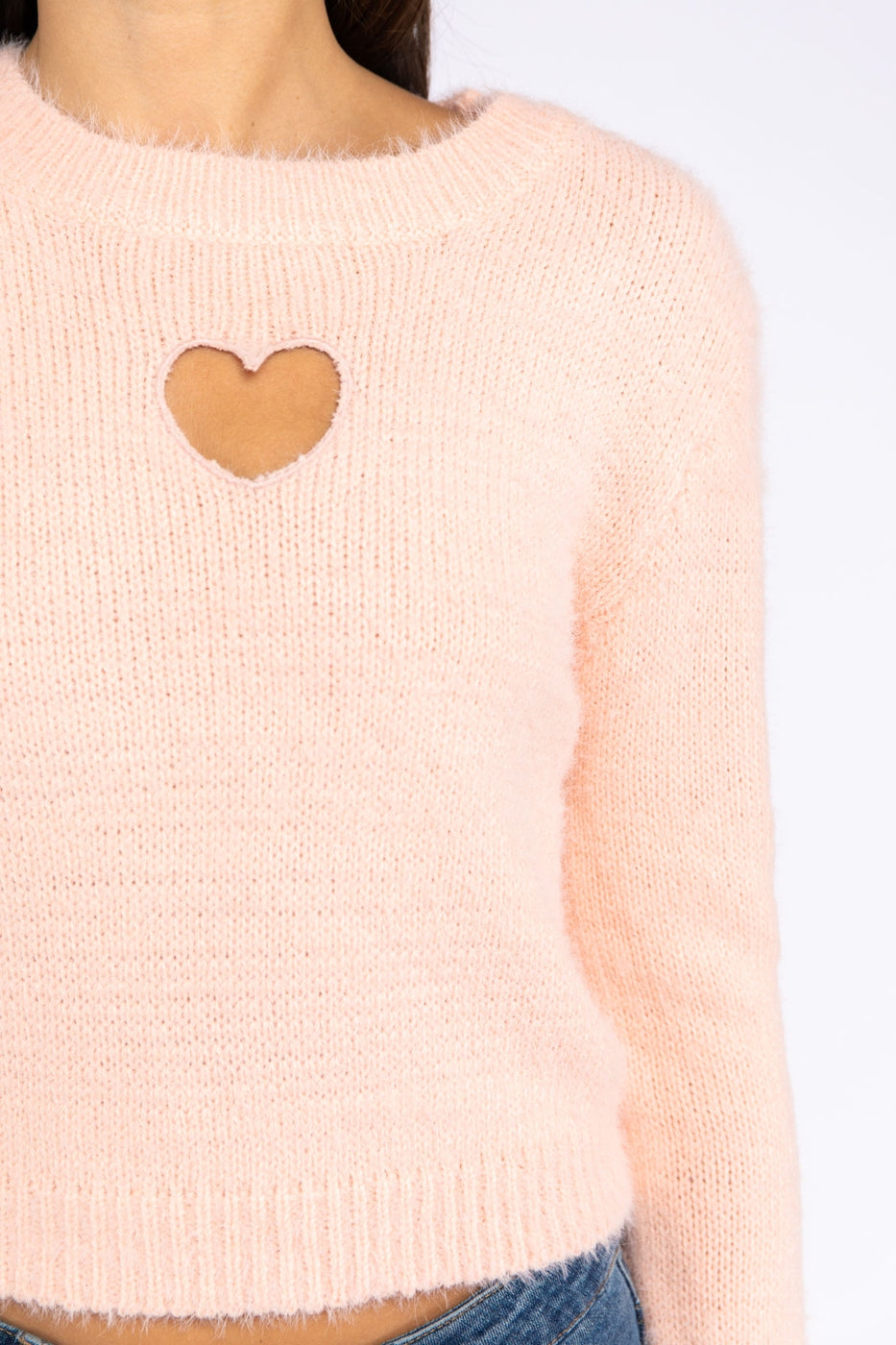 Long Sleeve Textured Sweater With Heart Embroidery In Blush Siin Bees