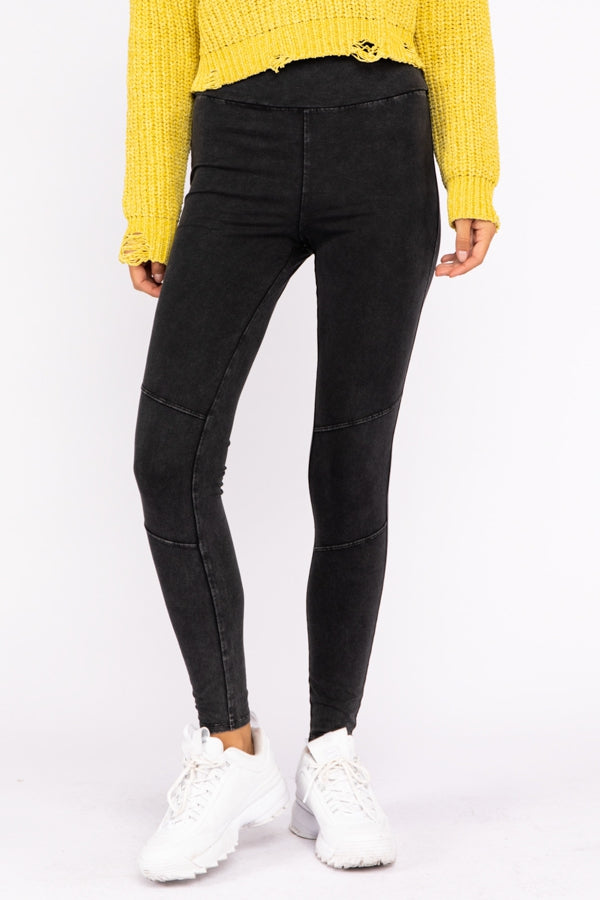 Mineral Wash Knit Leggings In Charcoal Siin Bees