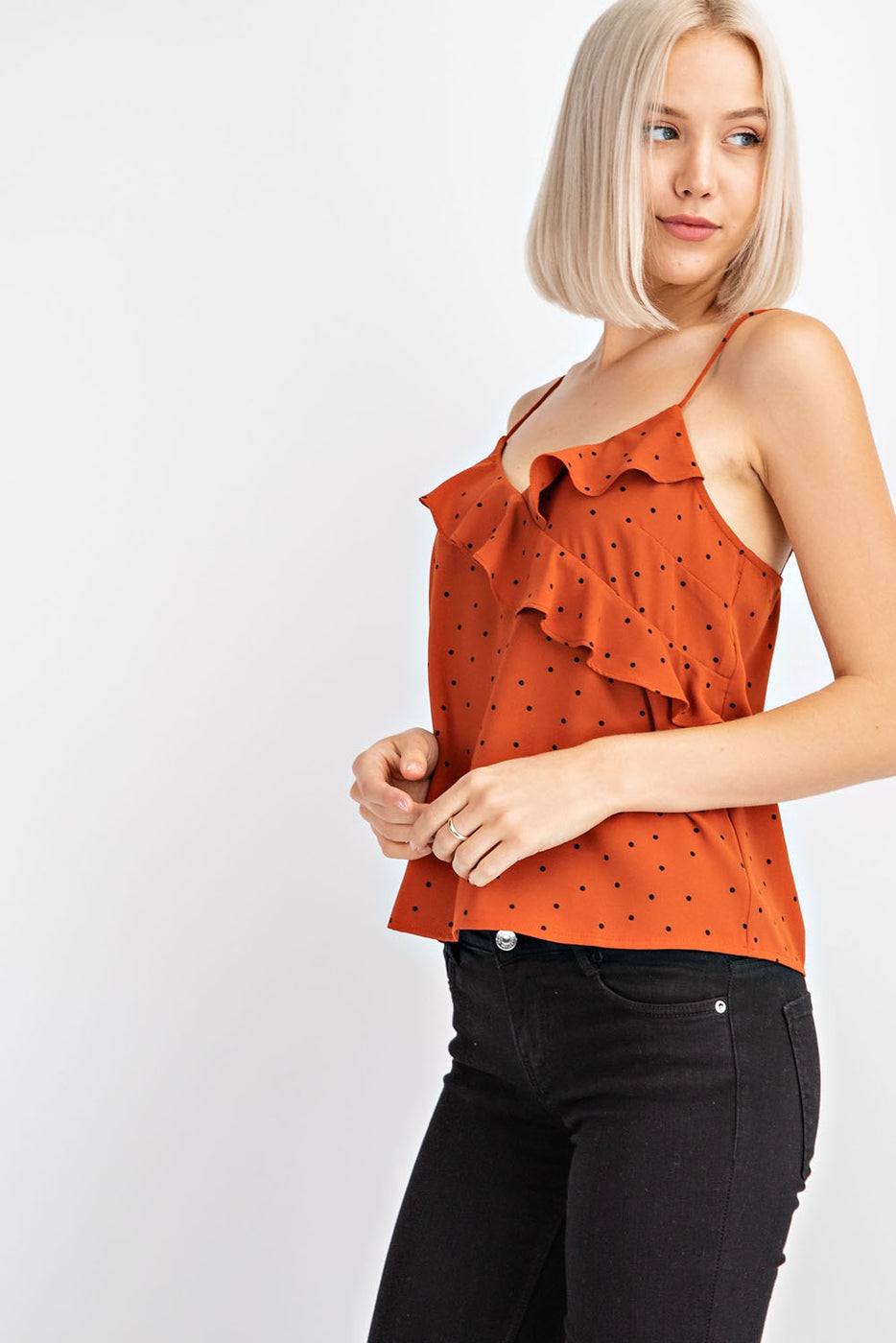Sleeveless Cami With Ruffle Detail Siin Bees