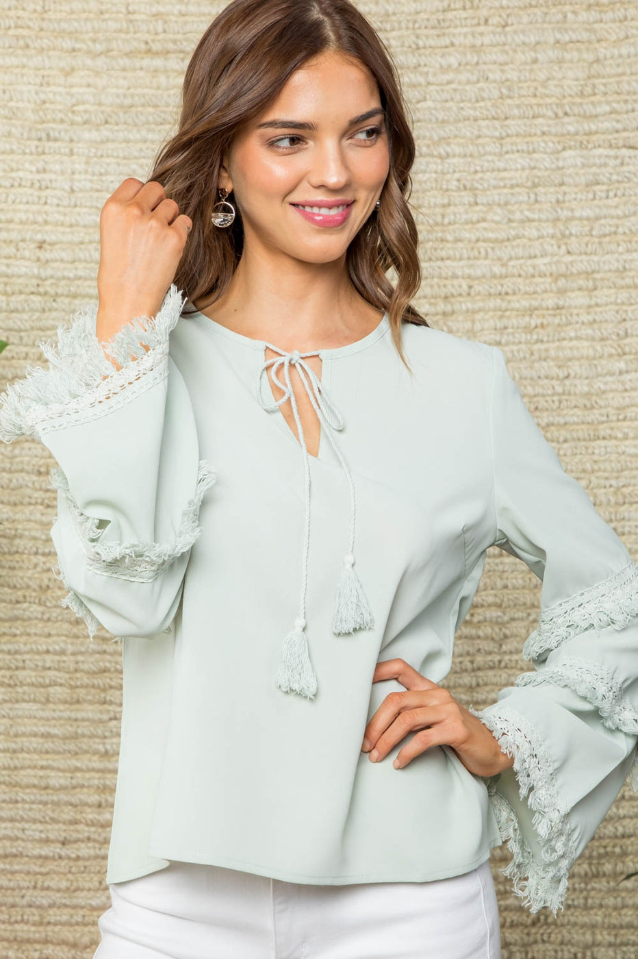 Bell Sleeve with Tassel Accent Neck Tie Solid Top Siin Bees