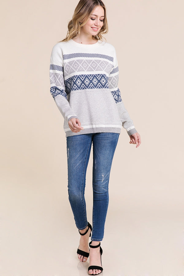Long Sleeve Sweater Patterned In Grey Siin Bees