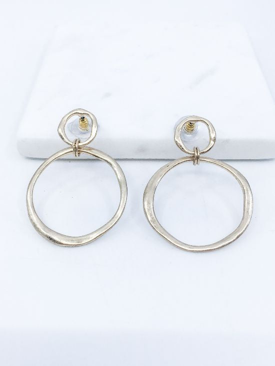 Hammered Hoop Drop Earrings Siin Bees
