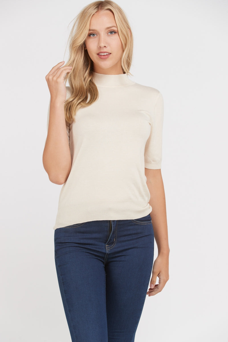 Natural Soft Short Sleeve Sweater Top Fitted Siin Bees