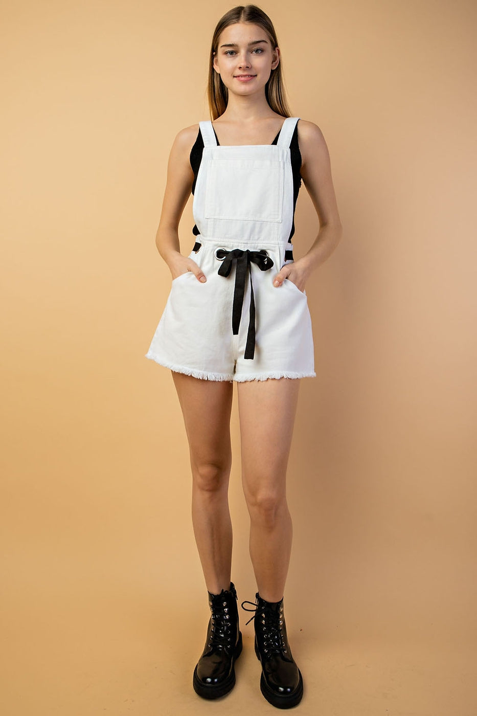 Jasmine Overall With Waist Eyelet Point In Off-White Siin Bees