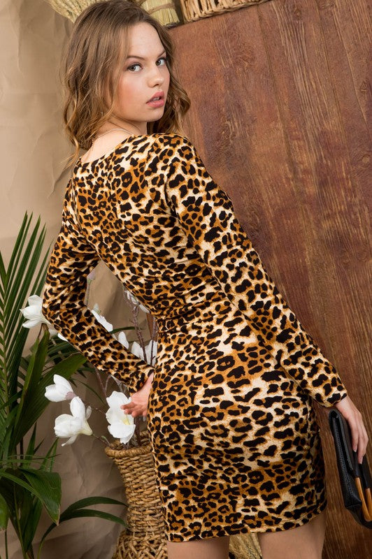 Ruby Front Tie Pleats Long Sleeve Leopard Print Knit Dress Siin Bees