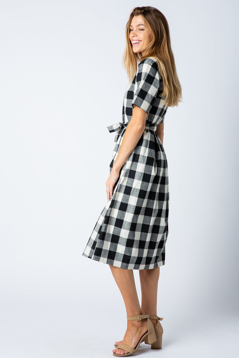 Juliette Midi Dress With Self Tie Belt In Black Siin Bees