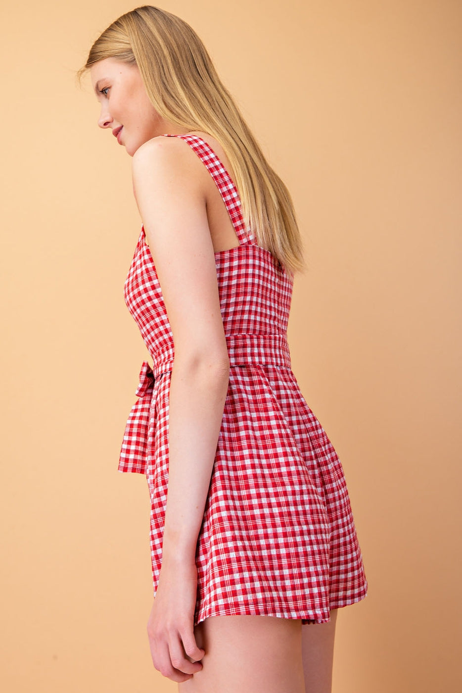 Arianna Gingham Romper With Front Tie In Red Siin Bees