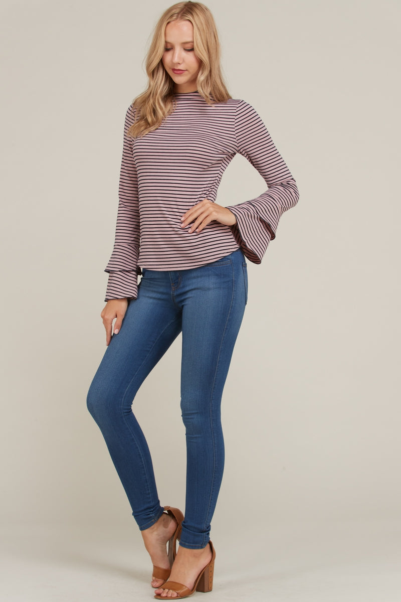 Charming Long Sleeve Stripe Top In Mauve Siin Bees