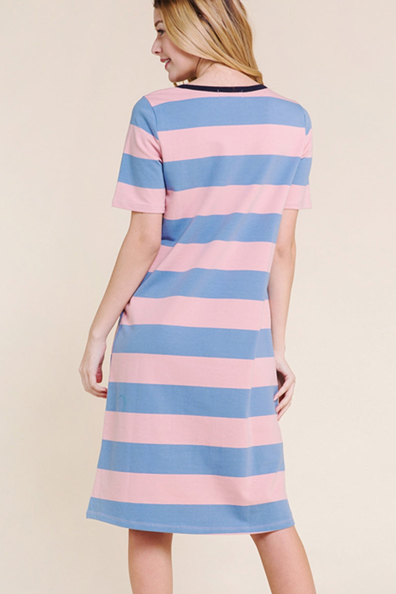 Genesis Blue/pink Knit Striped Dress Siin Bees