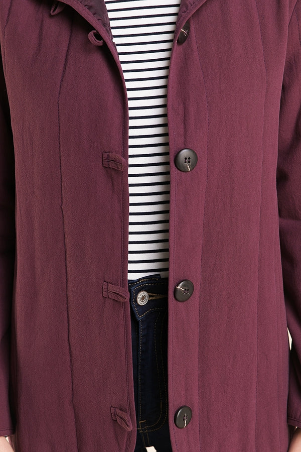 Plum Comfy Long Sleeve Jacket With Horn Button Siin Bees