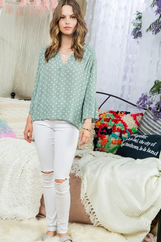 Fashion Dusty sage/White Dot Printed 3/4 Ruffle Sleeve Henry Neck Line Shirt Siin Bees