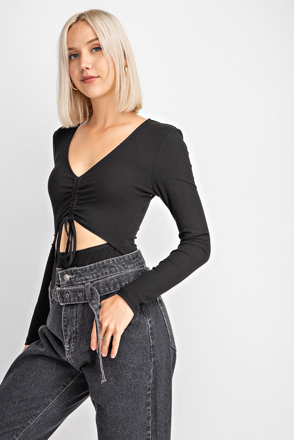 Long Sleeve Ruched Detail Bodysuit Siin Bees