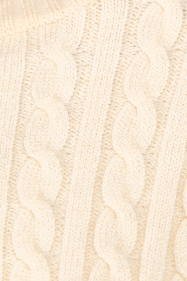 Cropped Cableknit Sweater In Ivory Siin Bees