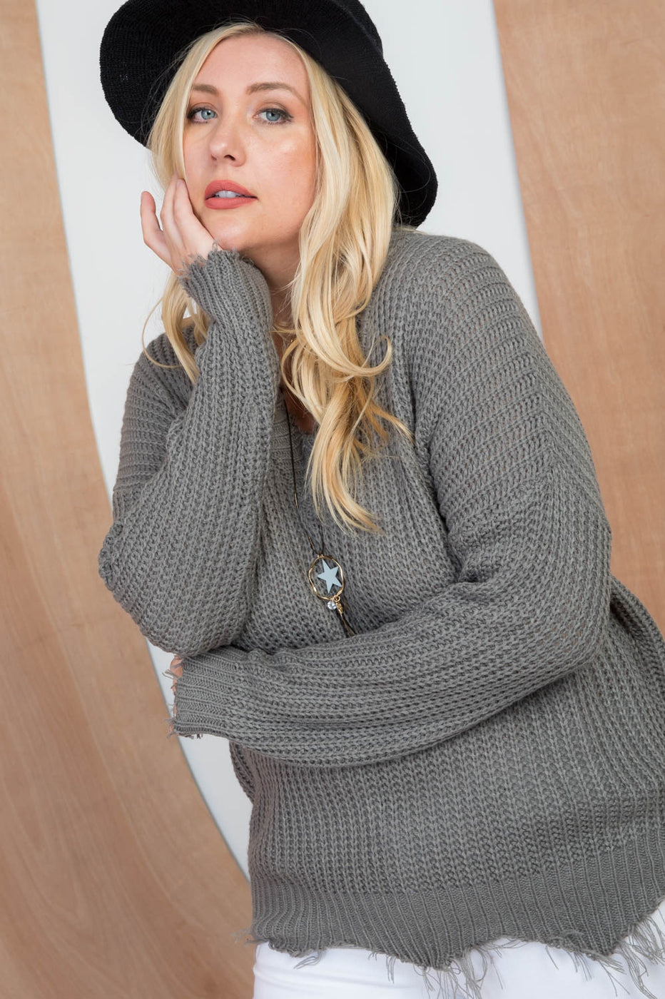 Sedona Sage Plus Size Sweater With Frayed V Neck Siin Bees