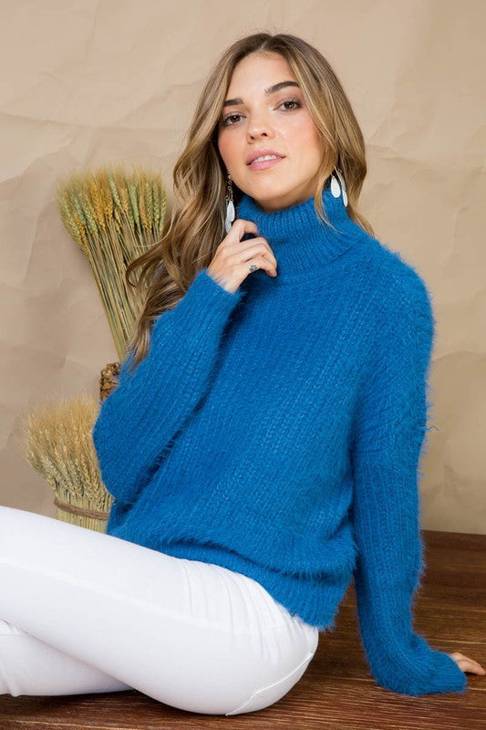 Blue Sweater with Solid Cowl Neck Fur Long Sleeve Siin Bees