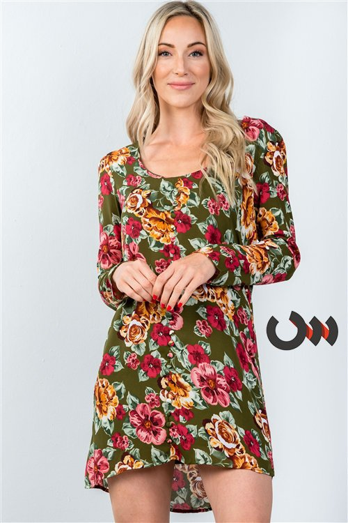 Thaila Floral Allover Olive Green Dress Siin Bees