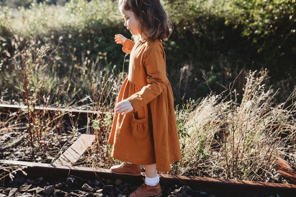Rusty Marigold Linen Dress