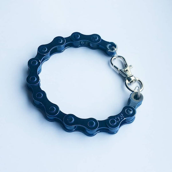 Midnight Blue Bicycle Chain Bracelet Great Gift for Any Cyclist or Bike Rider Upcycled Punk Industrial - Awesome Bike Gifts - Bike Essentials Accessories And T-shirts