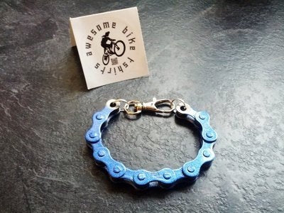 Blue Bicycle Chain Bracelet Great Gift for Any Cyclist or Bike Rider Upcycled Punk Industrial - Awesome Bike Gifts - Bike Essentials Accessories And T-shirts