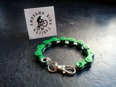 Green Bicycle Chain Bracelet Great Gift for Any Cyclist or Bike Rider Upcycled Punk Industrial - Awesome Bike Gifts - Bike Essentials Accessories And T-shirts