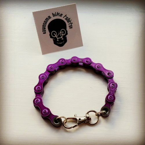 Purple Bicycle Chain Bracelet Great Gift for Any Cyclist or Bike Rider Upcycled Punk Industrial - Awesome Bike Gifts - Bike Essentials Accessories And T-shirts