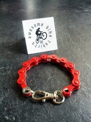 Red Bicycle Chain Bracelet Great Gift for Any Cyclist or Bike Rider - Awesome Bike Gifts - Bike Essentials Accessories And T-shirts