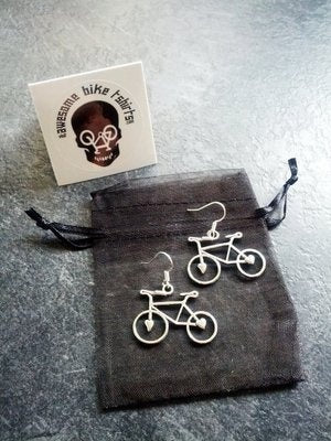 Love Bike - Bicycle Earrings Lovely Gift for Cyclists or Rider Present Ear Beautiful Silver plated wires suitable for pierced ears alloy charm - Awesome Bike Gifts - Bike Essentials Accessories And T-shirts