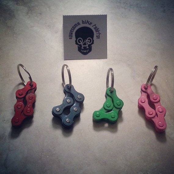 Little Keyrings Made from Bicycle Chain Great for Bike Riders and Cyclists, Fun to Fidget with, Stocking Filler or Birthday Present - Awesome Bike Gifts - Bike Essentials Accessories And T-shirts