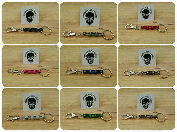 Bicycle Chain Keyring, Keyfob, Keychain Lots of Colours Great Gift for Bike Rider or Cyclist Upcycled Recycled Stocking Filler Birthday - Awesome Bike Gifts - Bike Essentials Accessories And T-shirts
