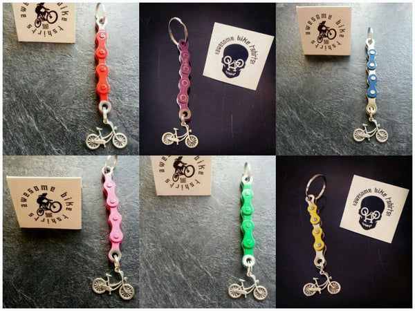 Retro Bicycle Chain Keyring, Keyfob, Keychain Lots of Colours Great Gift for Bike Rider or Cyclist Upcycled Recycled Stocking Filler Birthday - Awesome Bike Gifts - Bike Essentials Accessories And T-shirts