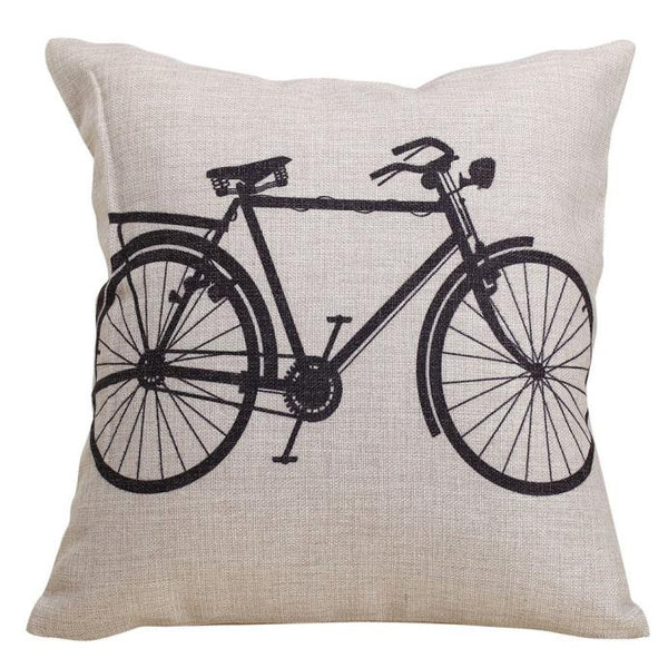 Bicycle Decorative Linen Cloth Pillow Cover Cushion Case 18 x 18 Inch - Awesome Bike Gifts - Bike Essentials Accessories And T-shirts