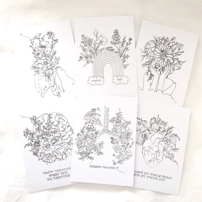 *NEW* 6 Line Drawing Postcards