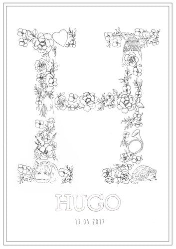 Line Drawing 'H' Print