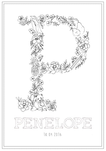 Line Drawing 'P' Print