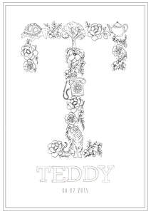 Line Drawing 'T' Print