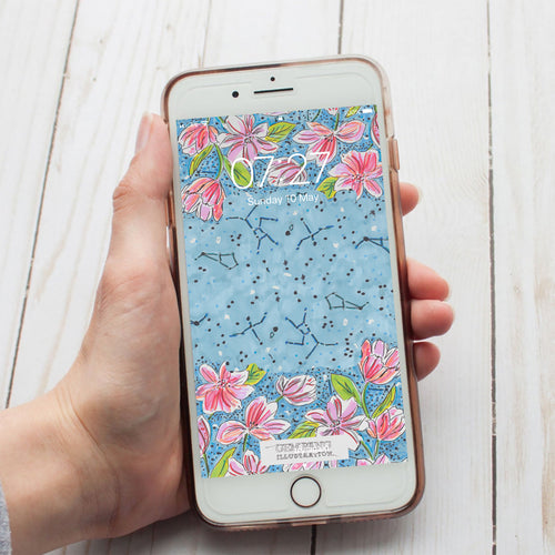 Floral Constellations Phone Wallpaper Download