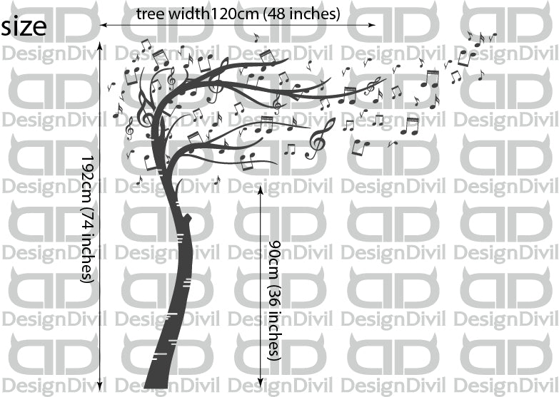 Sweeping Musical Notes Tree  Quality Vinyl Matte Wall Art Decal Sticker